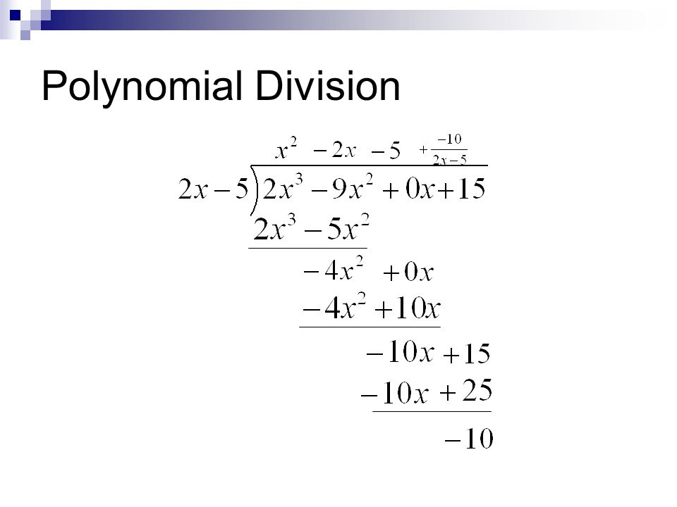Polynomial Long Division And Synthetic Division Ppt