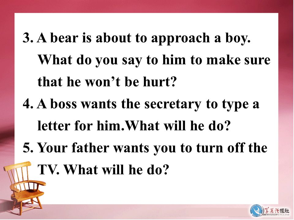 3. A bear is about to approach a boy