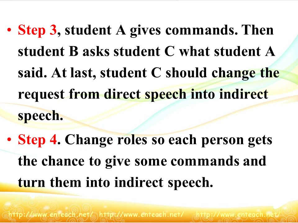 Step 3, student A gives commands