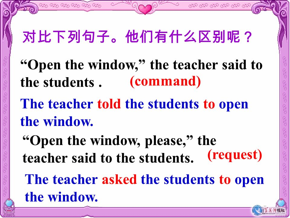 对比下列句子。他们有什么区别呢? Open the window, the teacher said to the students . (command) The teacher told the students to open the window.
