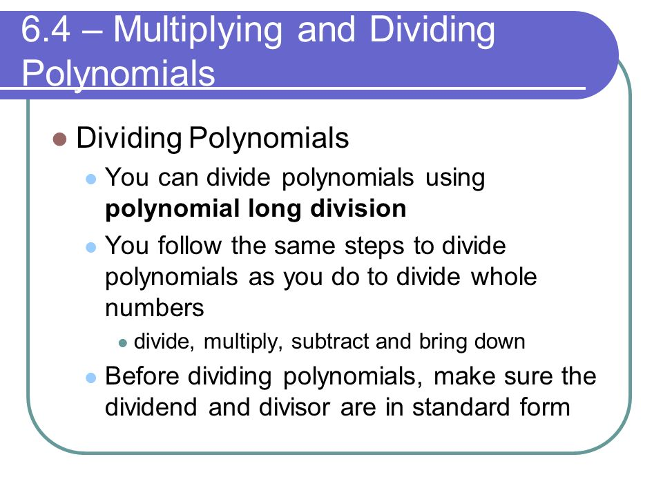 Chapter 6 Polynomials And Polynomial Functions Ppt