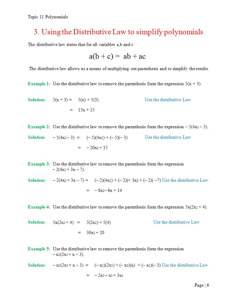 Topic 11 Polynomials 3 Using The Distributive Law To Simplify Polynomials  The Distributive Law