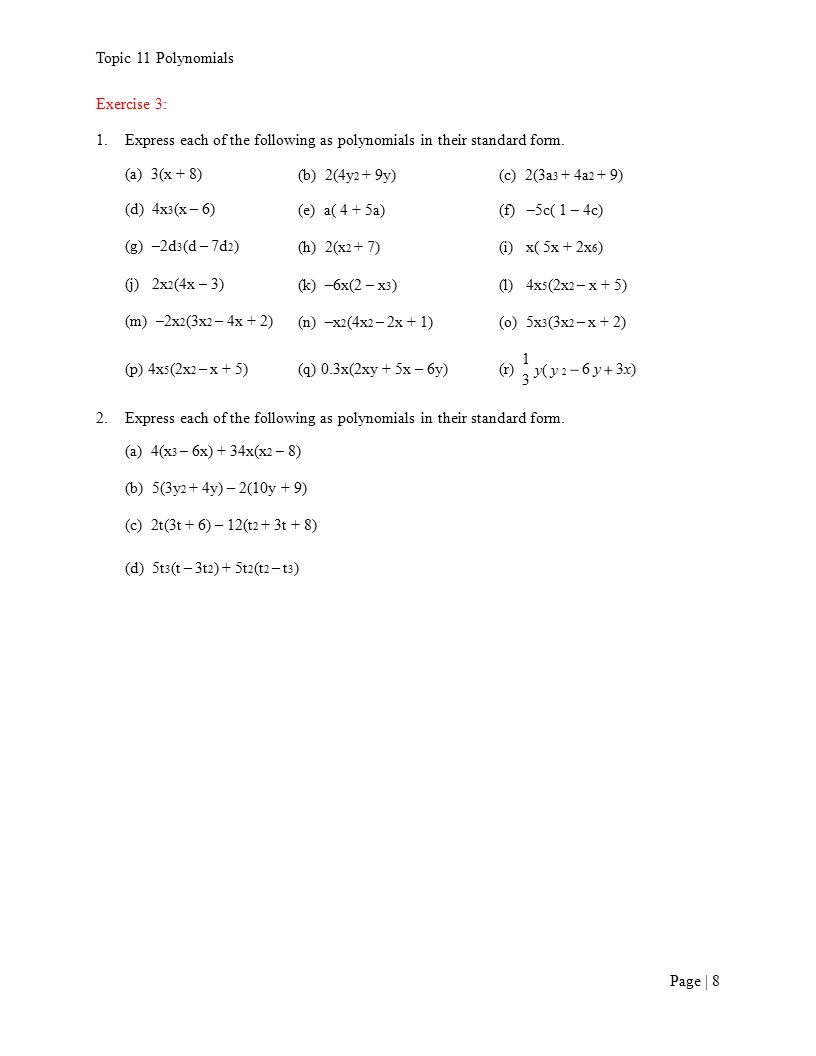 1 introduction to polynomials ppt video online download express each of the following as polynomials in their standard form falaconquin
