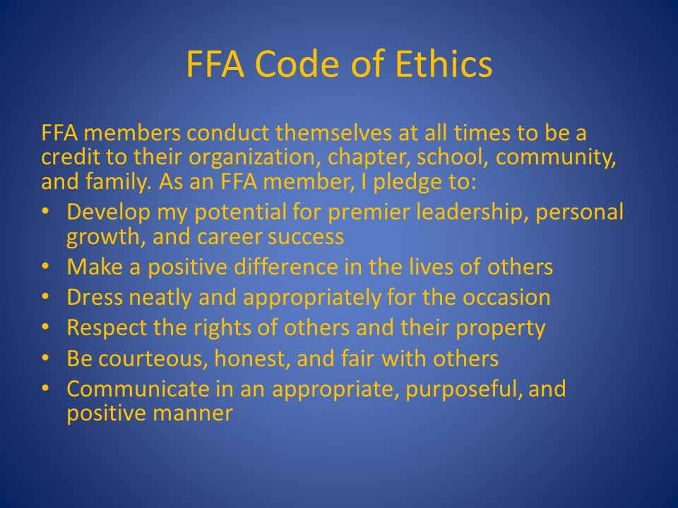 developing a personal code of ethics Why are ethics codes important to international development  ethical  behavior because it seems to have less to do with personal responsibility that a.