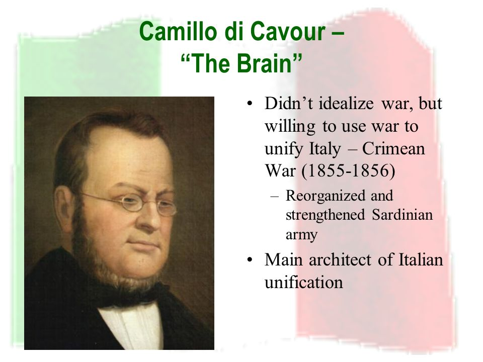 the italian unification mazzini cavour and Definition of cavour, count (camillo benso)  of italian unification as an  movement for italian independence and unity cavour's views.
