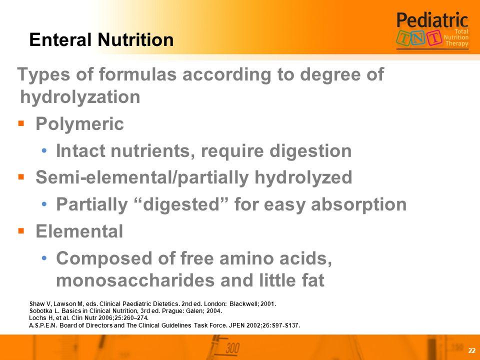paediatric dietetics enteral feeding guidelines