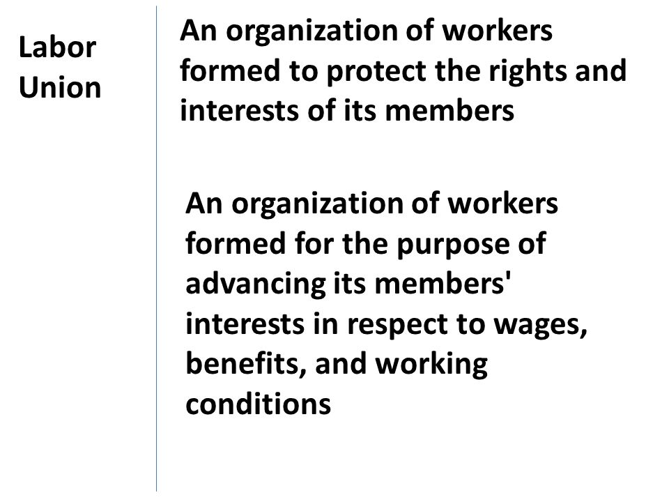 An organization of workers formed to protect the rights and interests of its members