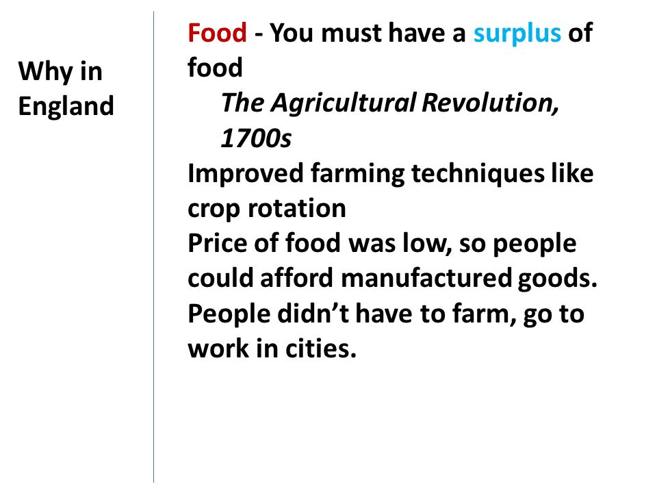 Food - You must have a surplus of food