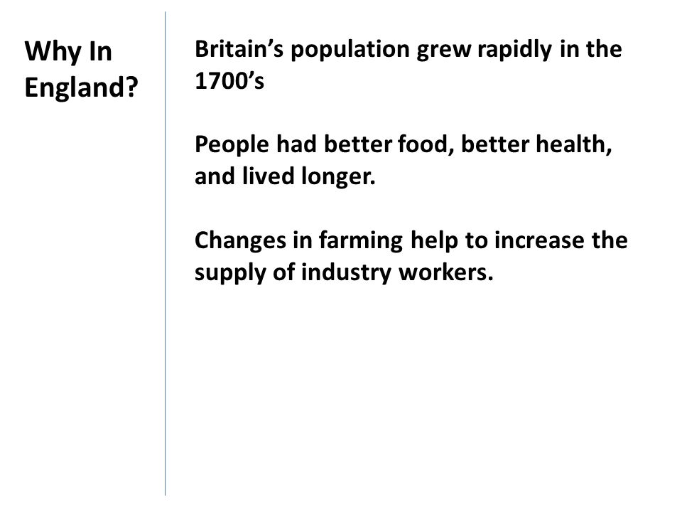 Why In England Britain's population grew rapidly in the 1700's