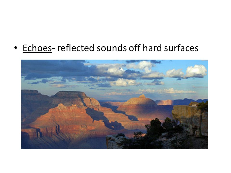 Echoes- reflected sounds off hard surfaces