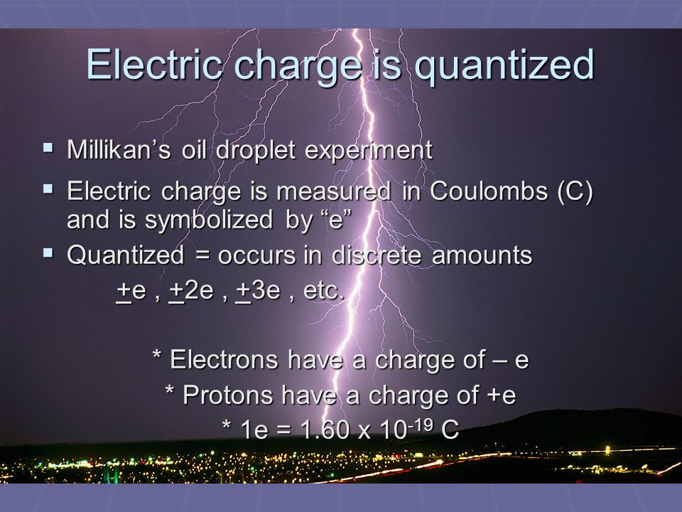 Electric charge is quantized