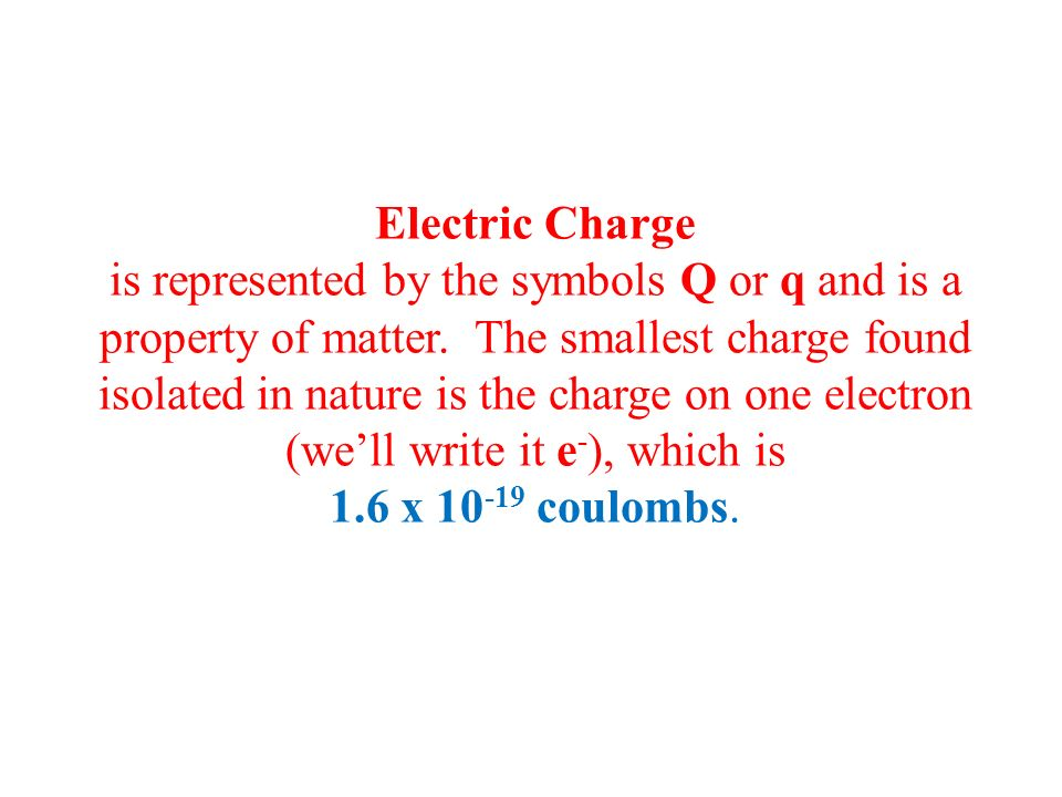 Electric Charge is represented by the symbols Q or q and is a property of matter.