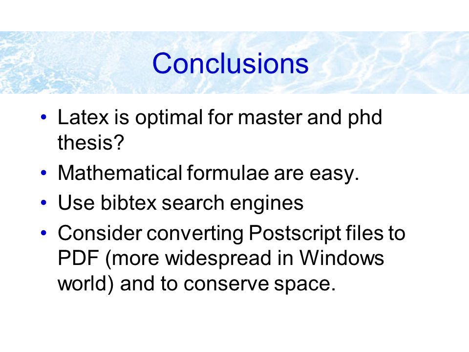 bibtex for phd dissertation My own phd thesis which i wrote in the early to mid 1990s in the department of   however, bibtex will ignore any latex commands such as.