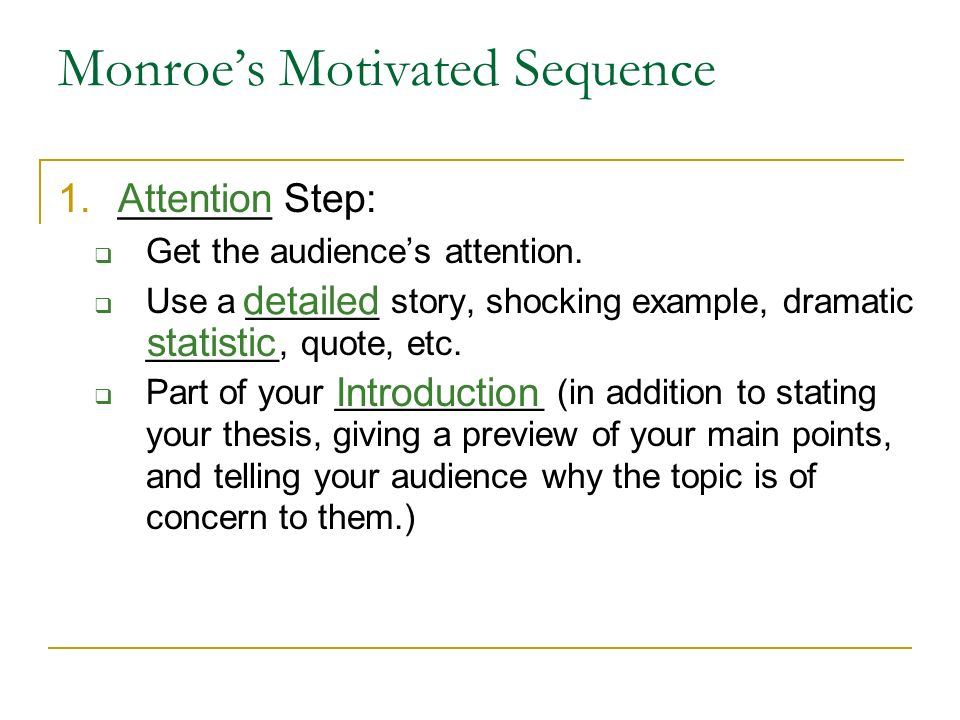 Monroe's Motivated Sequence - ppt video online download