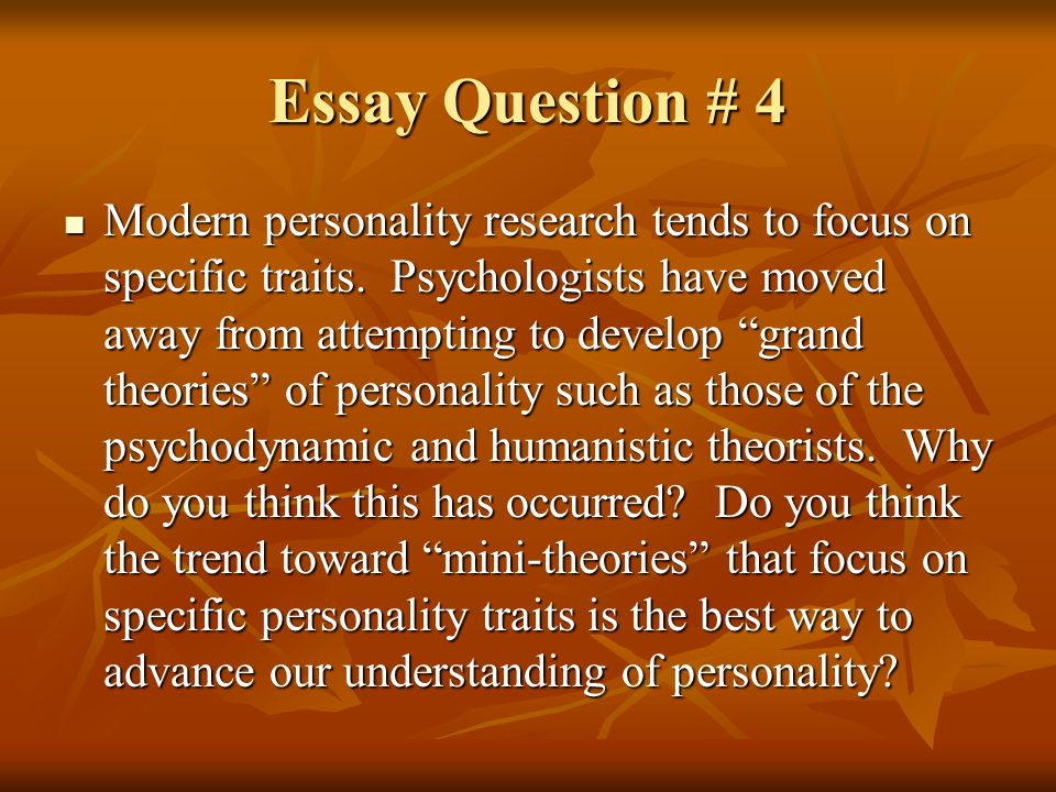 personalities theory activity essay The aim of this essay is to discuss how different theories of ageing have tried to approach older people and  activity theory can be viewed as a counterpoint to.