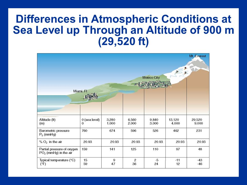 Chapter Exercise At Altitude Ppt Video Online Download - Sea level altitude
