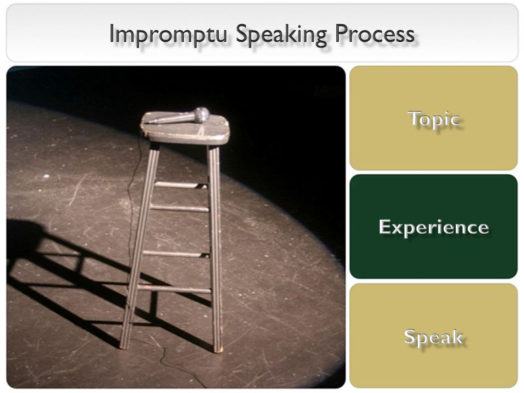 impromptu speaking feedback Objective: to gain practice with public speaking type of speech: impromptu   based on student feedback, the number of students per group should be limited.