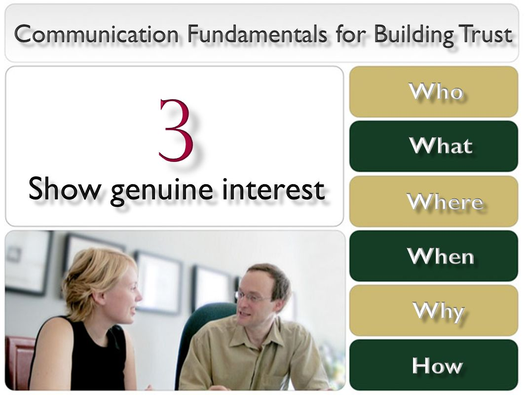 communication trust In this program employees will learn that communication, trust and respect are key ingredients for employee engagement, loyalty and organizational success participants should, as a result of this program, understand the link between effective communication, trust and respect and business, as well as personal accomplishment.