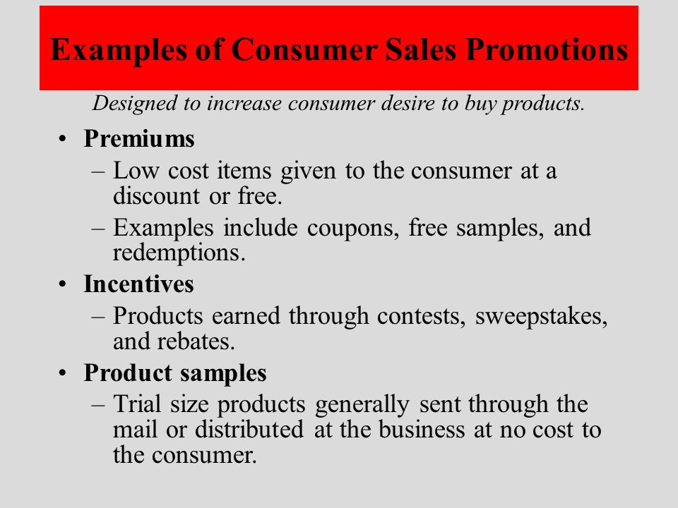 examples of sales promotion activities