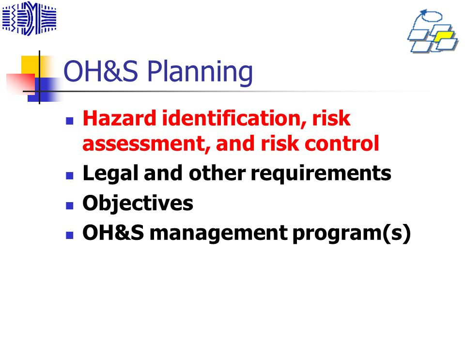 OH&S Planning Hazard identification, risk assessment, and risk control