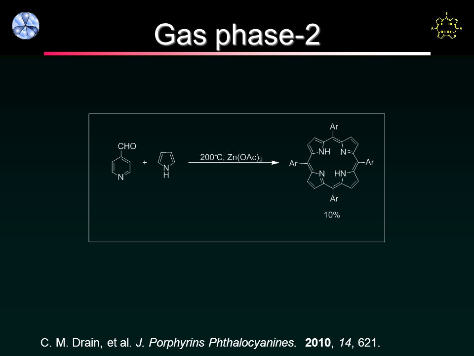 Gas phase-2 C. M. Drain, et al. J. Porphyrins Phthalocyanines. 2010, 14, 621.