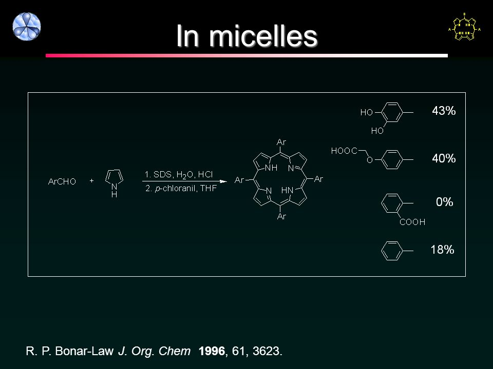 In micelles R. P. Bonar-Law J. Org. Chem 1996, 61, 3623.