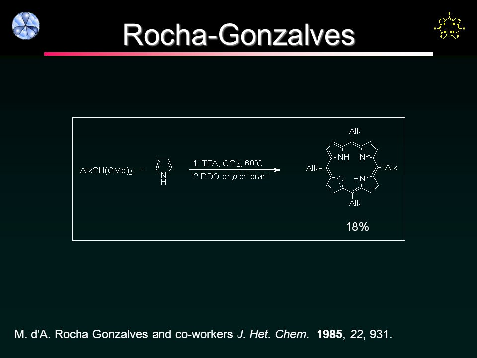 Rocha-Gonzalves M. d'A. Rocha Gonzalves and co-workers J. Het. Chem. 1985, 22, 931.