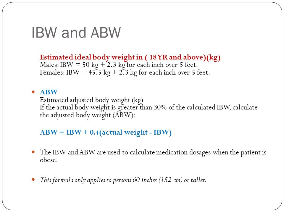 Corrected Body Weight Formula & Chapter Seven: Overweight ...