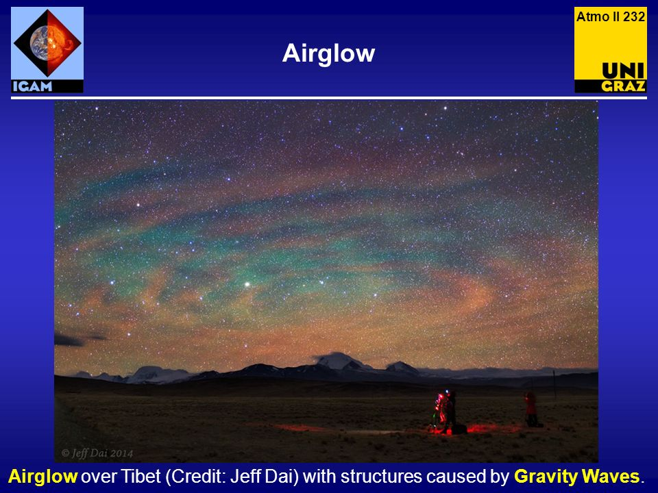 Atmo II 232 Airglow Airglow over Tibet (Credit: Jeff Dai) with structures caused by Gravity Waves.