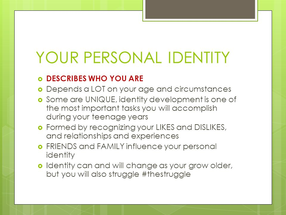YOUR PERSONAL IDENTITY