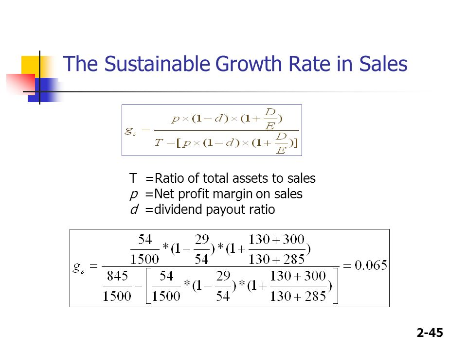 financial ratios and sustainable growth rate The sustainable growth rate is a measure of how large and how  to achieve sustainable growth or miss  by using certain key financial ratios.