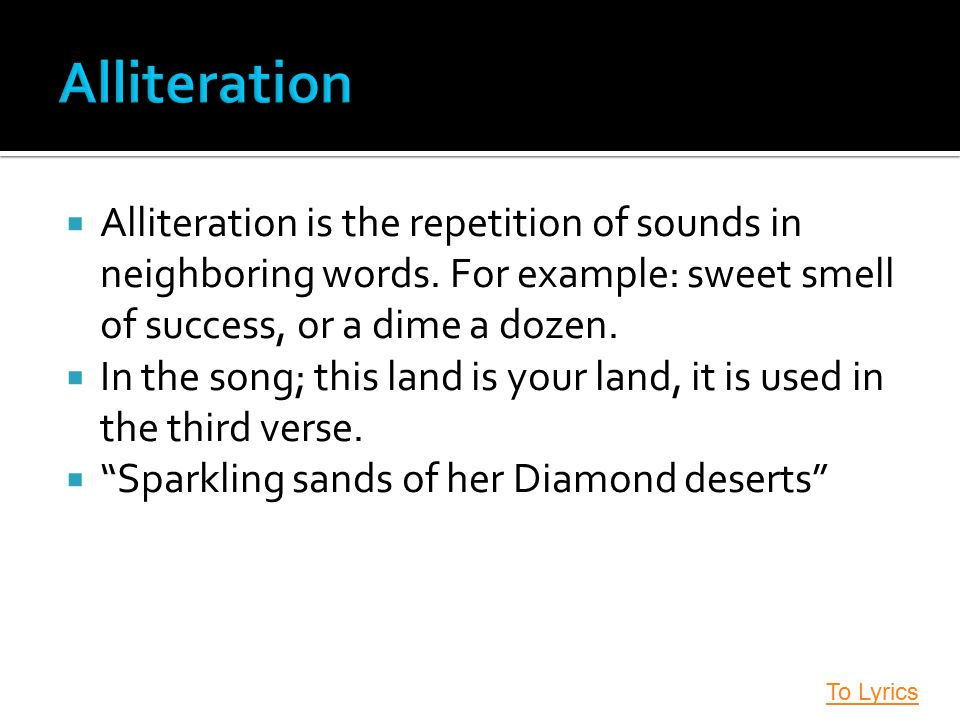 repetition of sounds Consonance is the repetition of a consonant sound at the middle or end of a word for example.