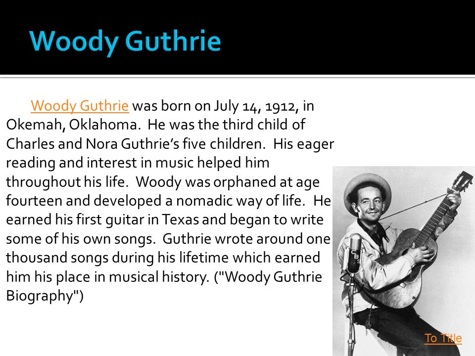 a biography of woody guthrie Buy woody guthrie: a life reprint by joe klein (isbn: 9780385333856) from  amazon's book store everyday low prices and free delivery on eligible orders.