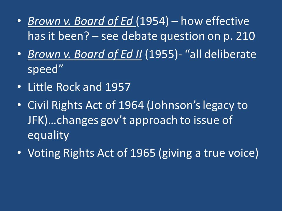 ap gov project brown v board 1 brown v board of education (brown i), (1954) 2 facts: brown was a black child who was denied admission to public schools in her community because of her race.