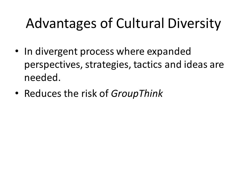 disadvantages of cultural diversity Culture, defined broadly, refers to ways of thinking that are characteristic of a group of people with similar backgrounds these ways of thinking can be common to.