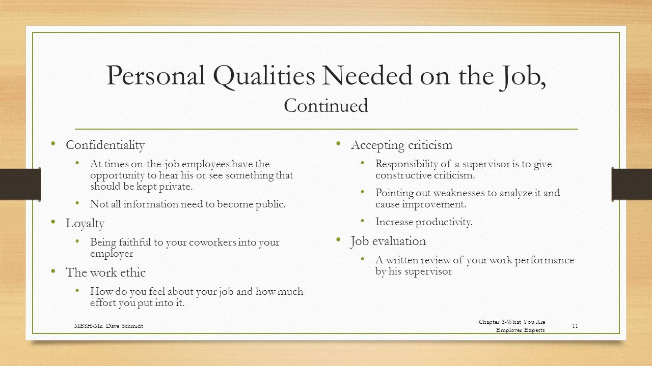 Personal Qualities Needed on the Job, Continued