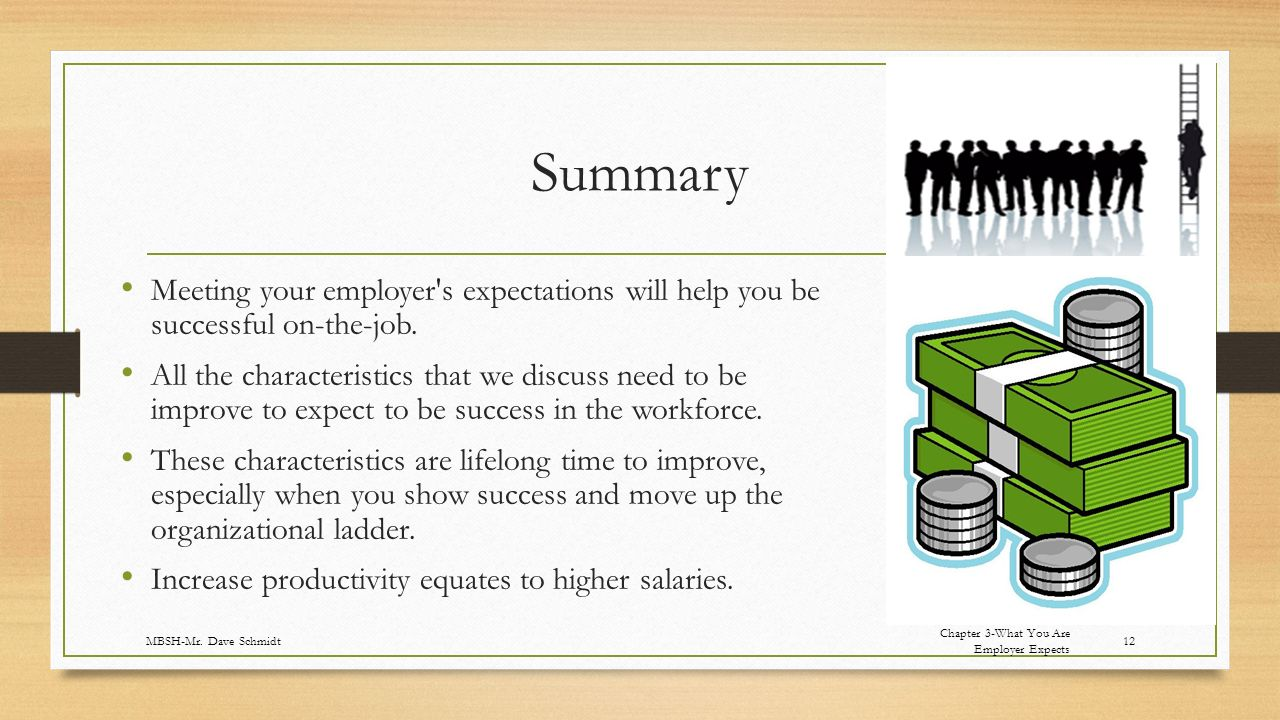 Summary Meeting your employer s expectations will help you be successful on-the-job.