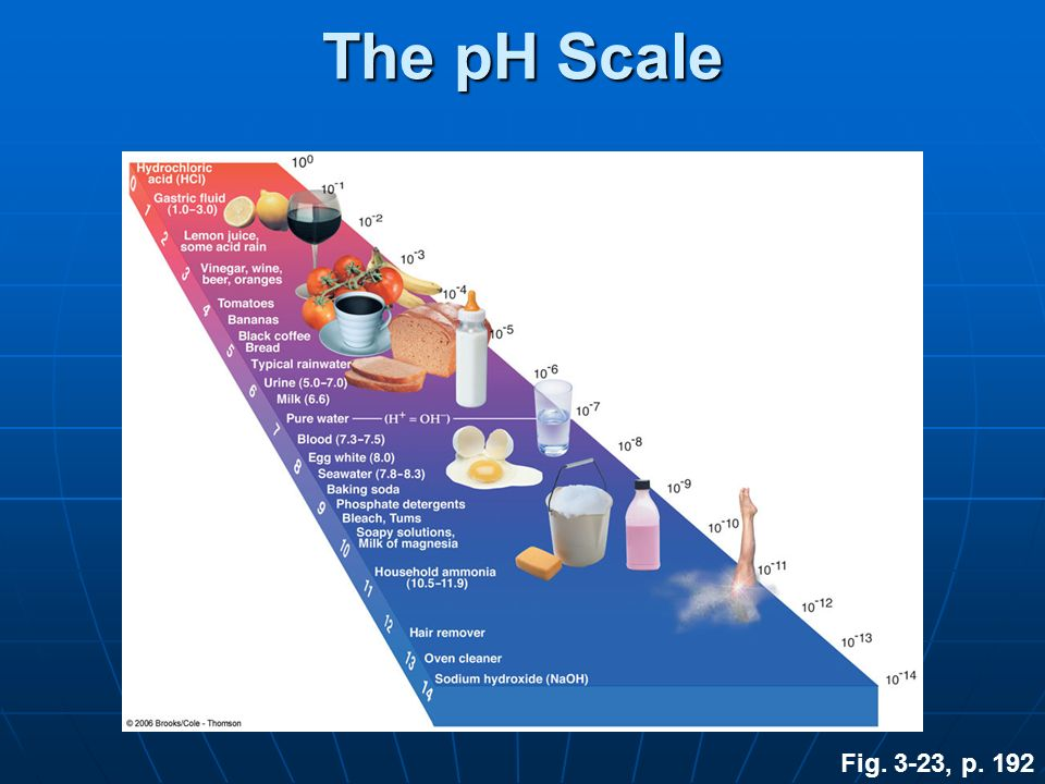The pH Scale Fig. 3-23, p. 192