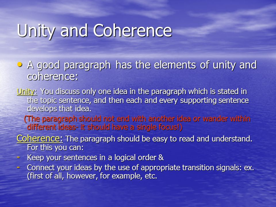 The Elements of a Paragraph - PowerPoint PPT Presentation
