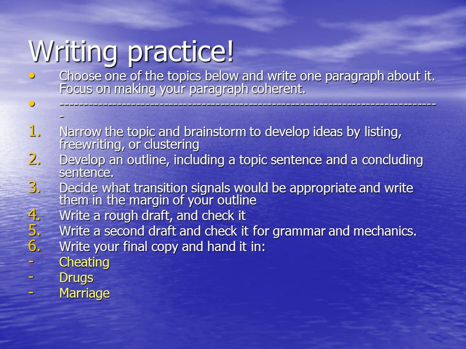 how to write a coherent paragraph