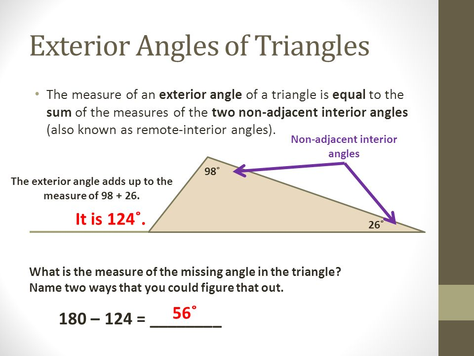 Triangles their angles ppt video online download - The exterior angle of a triangle is equal to ...