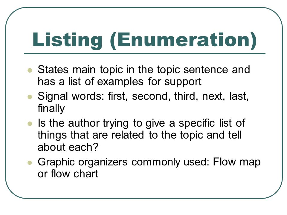 example of enumeration essay Example of enumeration it means that you get more money that the power is worth and an example is you ask for 60k and the power is worth 30k and you get 80k the purpose statement is this essay helpful join oppapers to read more and access more than 550,000 just like itget better.