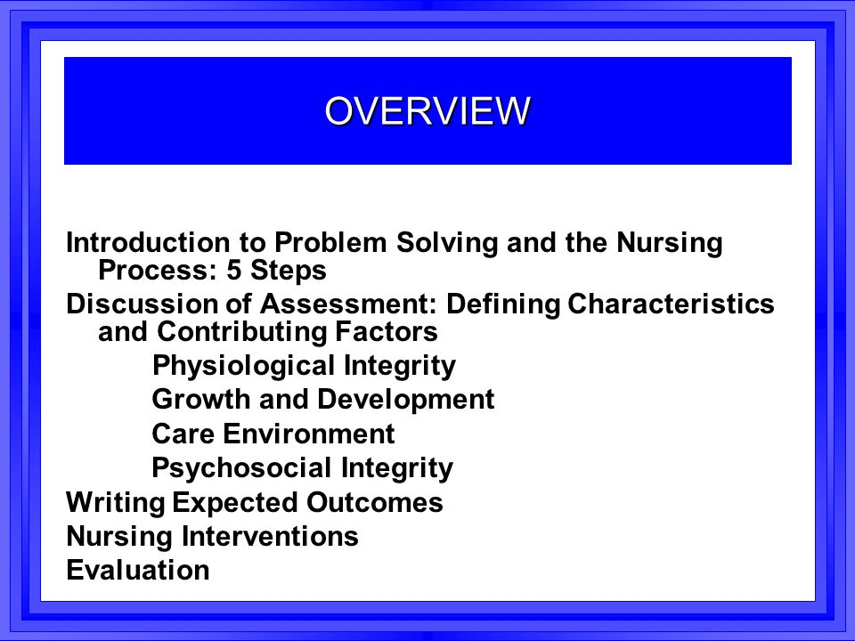 the application of nursing assessment in problem solving