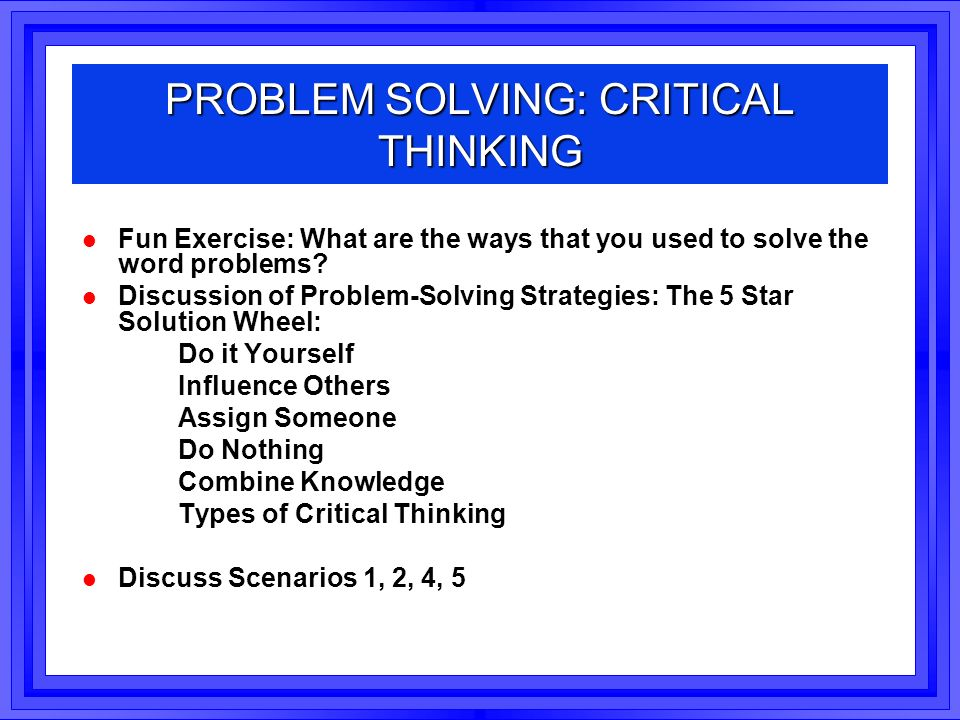 problem solving case study exercise
