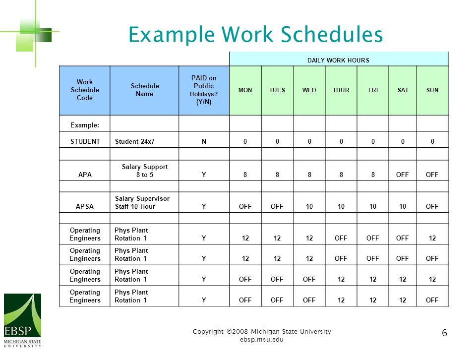 work schedules examples