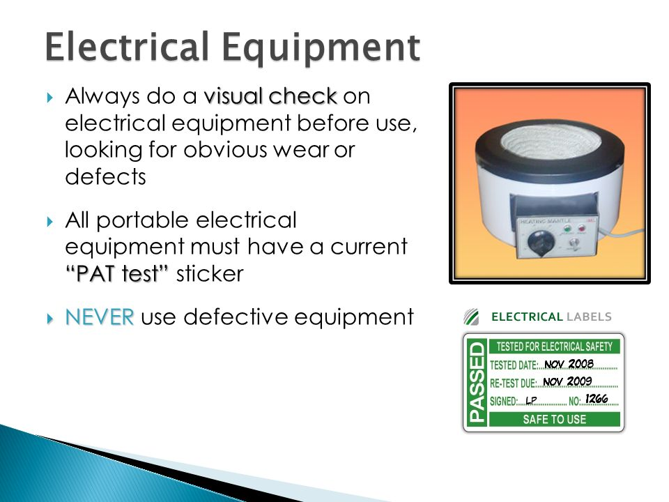 Electrical Safety Inspection Stickers : Safety in clinical laboratory sciences ppt video online