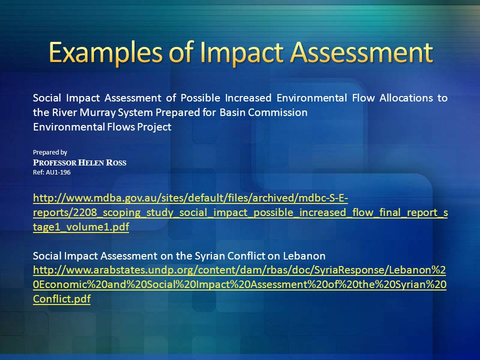 Social Impact Assessment  Ppt Video Online Download