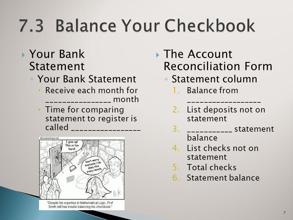 checkbook balancing forms