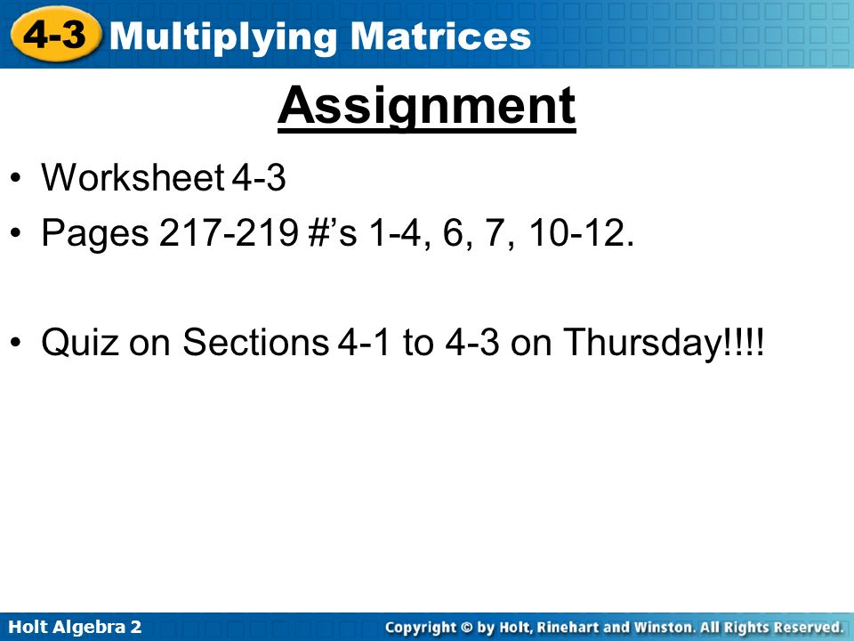 In Lesson 42 you multiplied matrices by a number called a scalar – Adding and Subtracting Matrices Worksheet