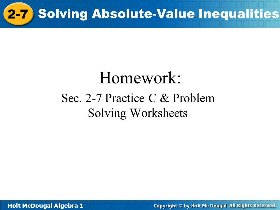 Objectives Solve compound inequalities in one variable involving – Absolute Value Practice Worksheet